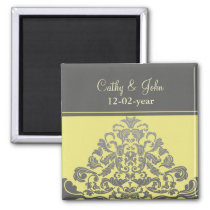 """yellow gray"" Save the date magnet"