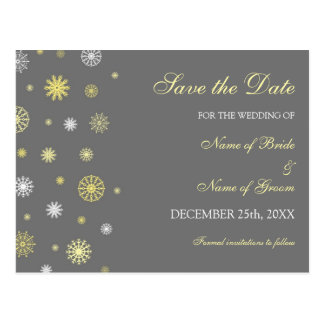 Yellow Gray Save the Date Winter Wedding Postcard
