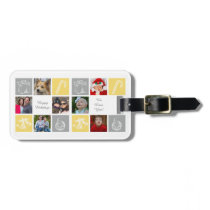 yellow gray seven photos collage luggage tag