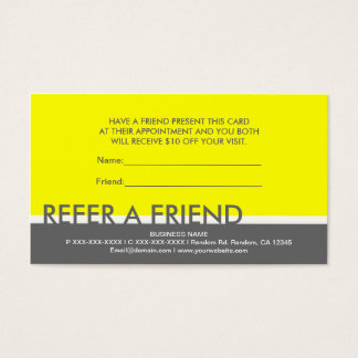 Yellow gray simple refer a friend custom cards