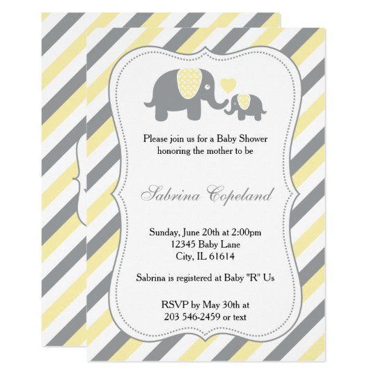 Yellow gray stripes baby elephant baby shower invitation yellow gray stripes baby elephant baby shower invitation filmwisefo