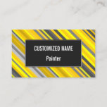 [ Thumbnail: Yellow & Gray Stripes Pattern Business Card ]