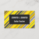 [ Thumbnail: Yellow & Gray Stripes Pattern Business Card ]