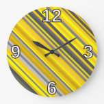 [ Thumbnail: Yellow & Gray Stripes Pattern Clock ]