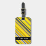 [ Thumbnail: Yellow & Gray Stripes Pattern + Custom Name Luggage Tag ]