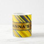 [ Thumbnail: Yellow & Gray Stripes Pattern + Custom Name Mug ]