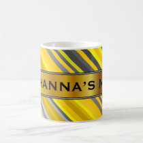 Yellow & Gray Stripes Pattern   Custom Name Mug