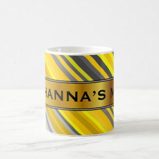 Yellow & Gray Stripes Pattern + Custom Name Mug
