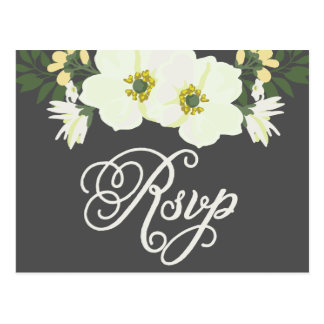 Yellow & Gray Summer Flowers Anemone II RSVP Postcard