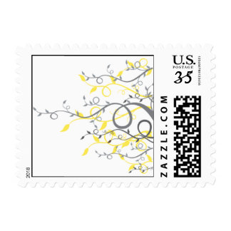 Yellow & Gray Swirls & Ivy Postage