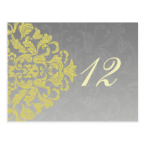 """yellow gray""  table numbers postcards"