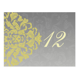 """""""yellow gray""""  table numbers postcards"""