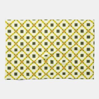 Yellow Gray Trellis Pattern Towel