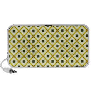 Yellow Gray Trellis Pattern iPhone Speakers
