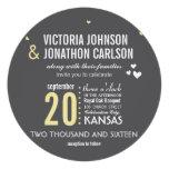 Yellow Gray Trendy Geometric Typography Wedding Custom Invitations