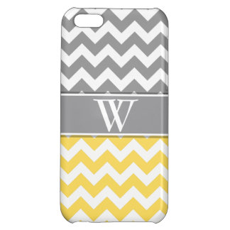 Yellow & Gray Trendy Monogrammed iPhone 5 Cover For iPhone 5C