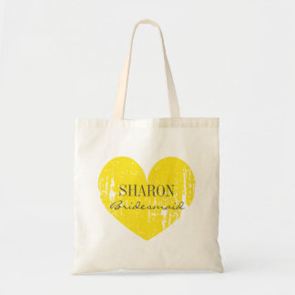 Yellow gray vintage heart bridesmaid tote bags