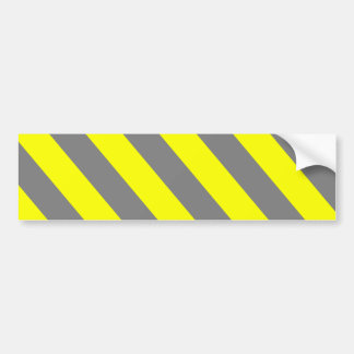 Yellow Gray Warning Stripes Bumper Sticker