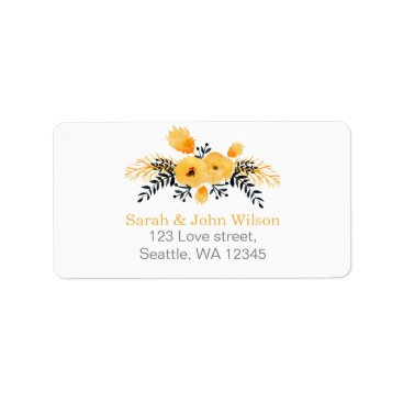 yellow gray watercolor floral address label