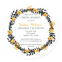 yellow gray watercolor floral Bridal Shower Invite