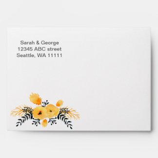 yellow gray watercolor floral envelope