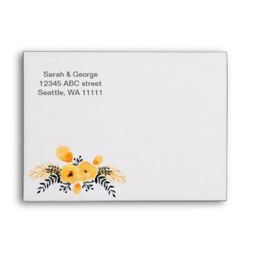 yellow gray watercolor floral envelope