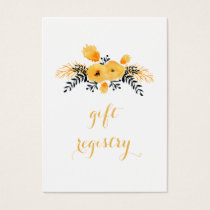 yellow gray watercolor floral gift registry business card