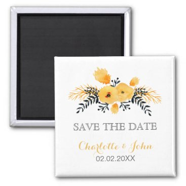 yellow gray watercolor floral save the Date Magnet