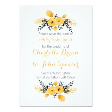 yellow gray watercolor floral save the dates card