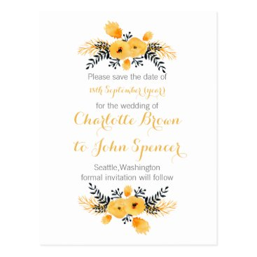 yellow gray watercolor floral save the dates postcard
