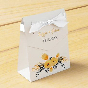 yellow gray watercolor floral wedding favor box
