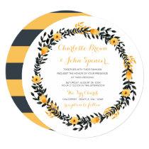 yellow gray watercolor floral wedding invitations