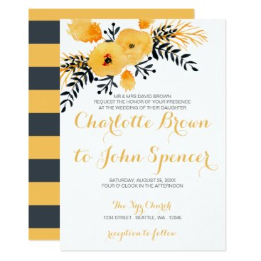 yellow gray watercolor floral wedding invitations