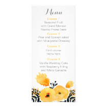 yellow gray watercolor floral wedding menu