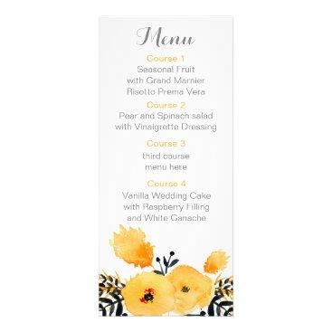 yellow gray watercolor floral wedding menu