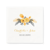 yellow gray watercolor floral wedding napkin