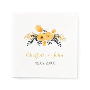 yellow gray watercolor floral wedding napkin