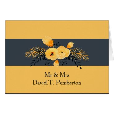 yellow gray watercolor floral Wedding Place Cards