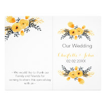 yellow gray watercolor floral wedding program