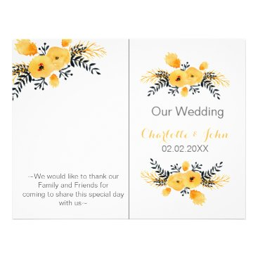 yellow gray watercolor floral wedding program