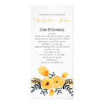 yellow gray watercolor floral wedding programs