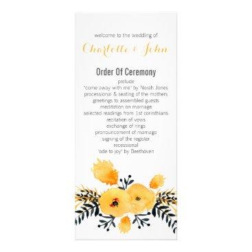 yellow gray watercolor floral wedding programs