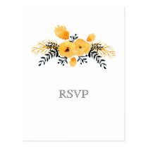 yellow gray watercolor floral wedding rsvp postcard