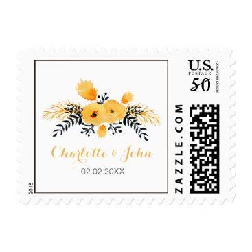 yellow gray watercolor floral wedding stamps