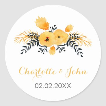 yellow gray watercolor floral wedding stickers