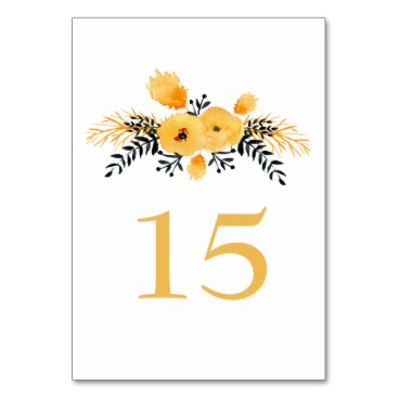yellow gray watercolor floral wedding table number