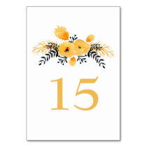 yellow gray watercolor floral wedding table number card
