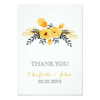 yellow gray watercolor floral wedding Thank You Card