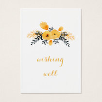 yellow gray watercolor floral wishing well business card