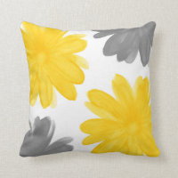 Yellow Gray Watercolor Flowers Throw Pillow